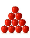 Red apples on a pyramid shape Royalty Free Stock Photography