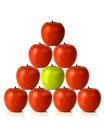 Red apples on a pyramid shape - be different Stock Photo