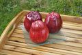Red apples on a tray Royalty Free Stock Photography