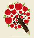 Red apples tree pencil concept delicious apple icon in idea vector illustration layered for easy manipulation and custom coloring Royalty Free Stock Photo