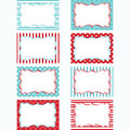 Red and Aqua Printable Labels Set.Tags,Photo Frame, Gift Tags, Scrapbooking,Card Making,Invitation.