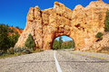 Red Arch road tunnel near Bryce Canyon National Park, Utah, USA Royalty Free Stock Photo