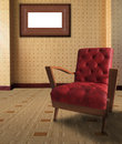 Red arm chair in living room with picture frame on Royalty Free Stock Photo