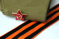 Red army man s garrison cap military of the soldier krasnoy the soviet with an star Stock Images