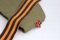 Red army man s garrison cap military of the soldier krasnoy the soviet with an star Stock Photos