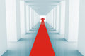 Red Arrow in corridor Royalty Free Stock Photos