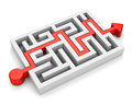 Red arrow path across labyrinth Royalty Free Stock Photo