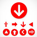 Red Arrow sign icon set. Royalty Free Stock Photo