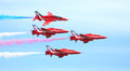 Red arrows display team this year sees the world famous raf in formation celebrating their year anniversary jets displaying Royalty Free Stock Images