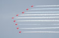 Red arrows royal air force aerobatic display above tallinn bay at estonia june Stock Photography
