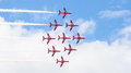 Red arrows royal air force aerobatic display above tallinn bay at estonia june Stock Photos