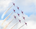 Red arrows royal air force aerobatic display above tallinn bay at estonia june Royalty Free Stock Photos
