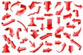 Red arrows. Set of shiny 3d icons isolated on white background