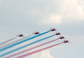 Red Arrows team paints Russian flag Stock Image