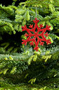 Red (artificial) snowflake ornament Royalty Free Stock Photography