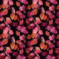Red autumn leaves, black background. Seamless contrast autumn pattern. Watercolor