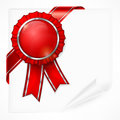 Red award label on paper with ribbon white sheet vector illustration Stock Photography