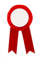 Red award ribbon badge isolated on white background Stock Photography