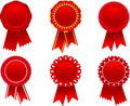 Red award rosette set vector illustration of separate layers for easy editing Stock Photo