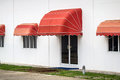 Red awning decorate on the building Stock Photography