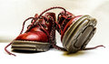 Red baby shoes or kid on white background Royalty Free Stock Photography