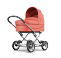 Red baby stroller. For boy. 3d rendering. Royalty Free Stock Photo