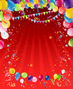 Red bacground with balloons