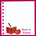 Red back to school a paper welcoming with an apple and a book Stock Photography
