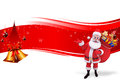 Red backgroound with big Jingle bell ans santa Royalty Free Stock Photography
