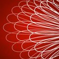 Red background with abstract lace pattern of white curved lines Royalty Free Stock Photo