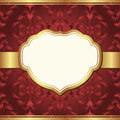 Red background dark with golden frame and baroque ornaments Royalty Free Stock Image