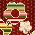 Red background with decorative flowers Stock Photo