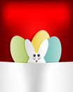 Red background, Easter Bunny and eggs