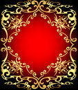 Red background is a frame with gold ornamentation illustration of Royalty Free Stock Photos