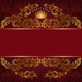 Red background with gilded ornament Royalty Free Stock Photos