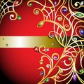 Red background with gold jewerly vector curly multicolor gems and diamonds Royalty Free Stock Photography
