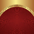 Red background gold with vintage border Stock Photo