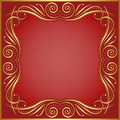 Red background with golden border Stock Photography