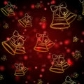 Red background with golden christmas bells Stock Images