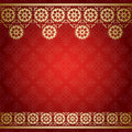 Red background with golden floral border vector eps Royalty Free Stock Images