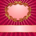 Red background with golden ornaments Stock Photos