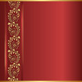 Red background with golden ornaments Stock Image