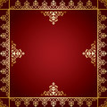 Red vector background with golden victorian ornament Royalty Free Stock Photo