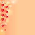 Red background with hearts light pink decoration of and beads on strings Royalty Free Stock Photography