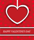 Red background with hearts for valentine s day a paper heart Royalty Free Stock Images
