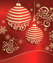 Red background with New Year's spheres Royalty Free Stock Photo
