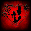 Red background,silhouettes of a fairy-tale Prince and Princess