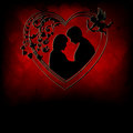 Red background,silhouettes of two lovers