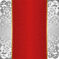 Red background silver and with ornaments Stock Photos