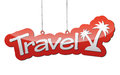 Red background travel with icon travel
